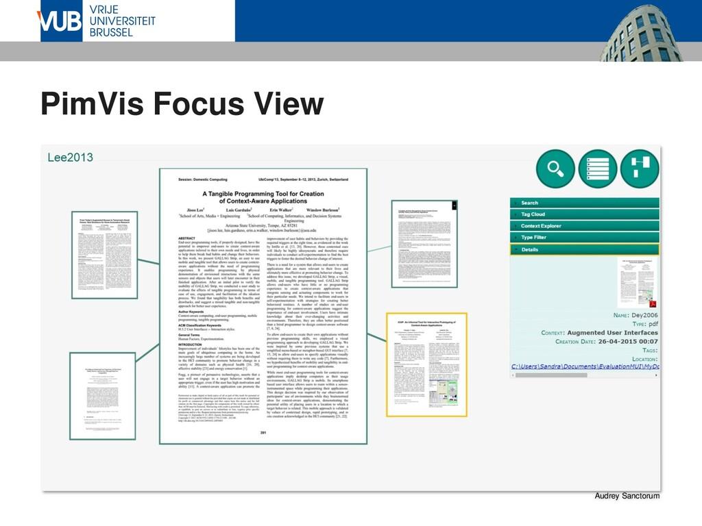 PimVis Focus View Audrey Sanctorum