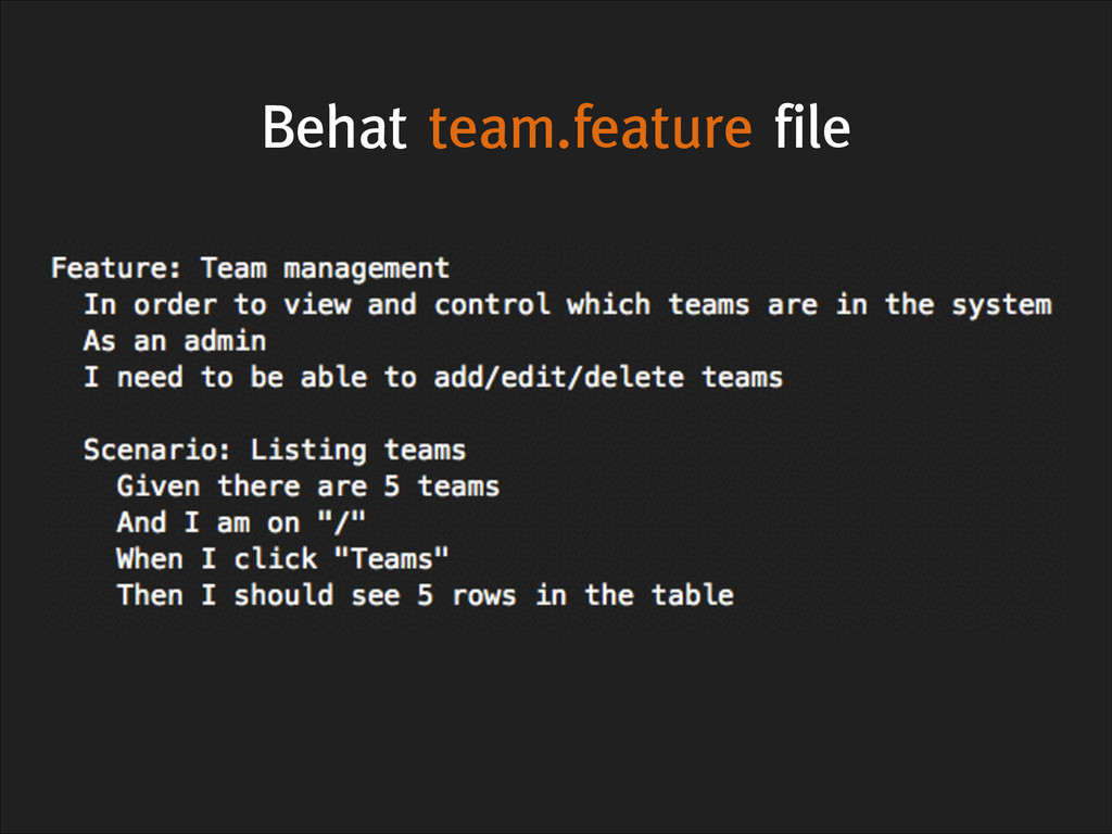 Behat team.feature file