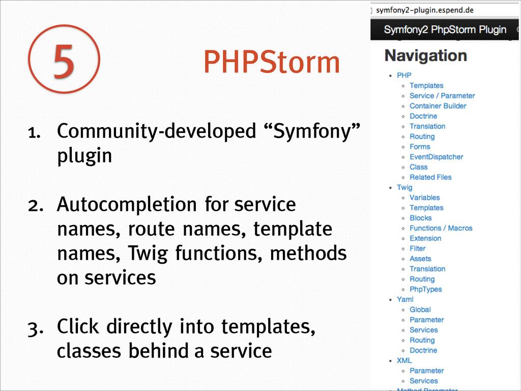 """5 PHPStorm 1. Community-developed """"Symfony"""" plu..."""