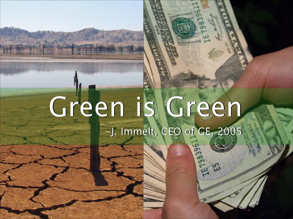 Ϗδωε Green is Green -J. Immelt, CEO of GE, 2005