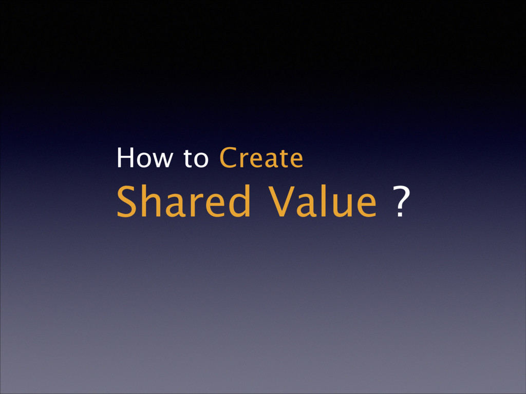 How to Create Shared Value ?