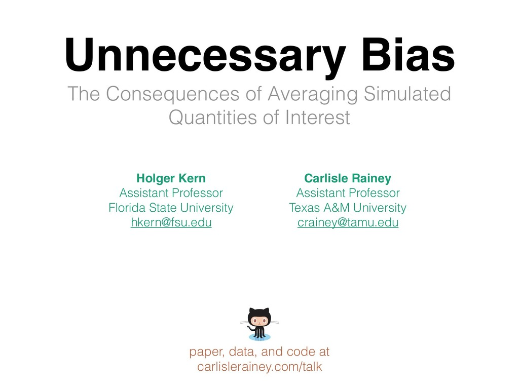 Unnecessary Bias The Consequences of Averaging ...