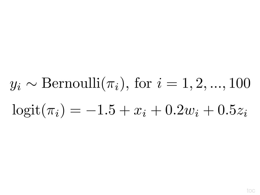 yi ⇠ Bernoulli(⇡i), for i = 1, 2, ..., 100 logi...