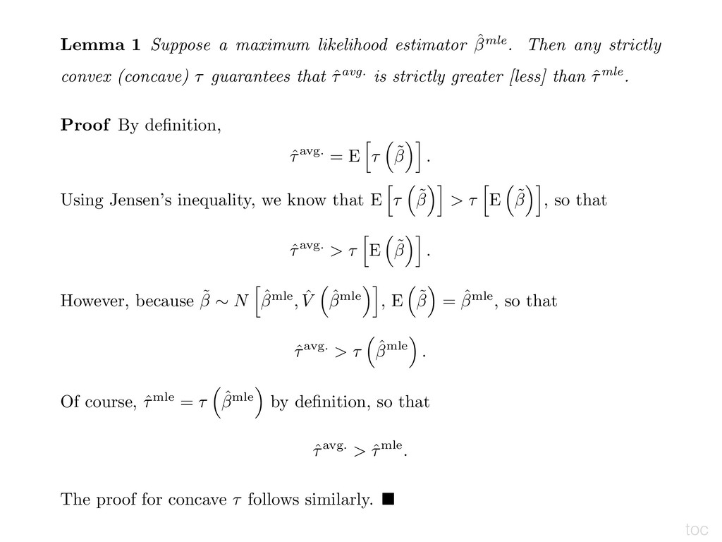 toc Lemma 1 Suppose a maximum likelihood estima...