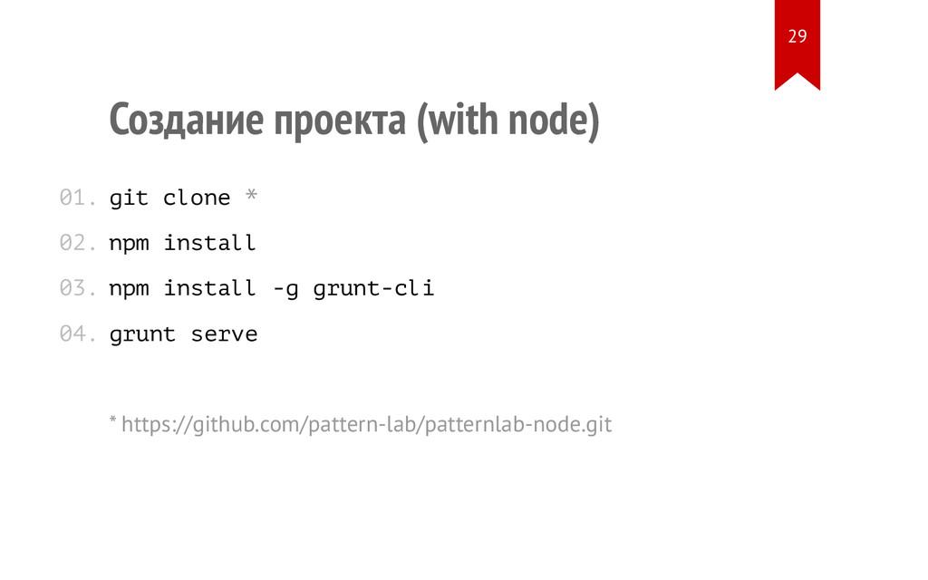 Создание проекта (with node) git clone * npm in...