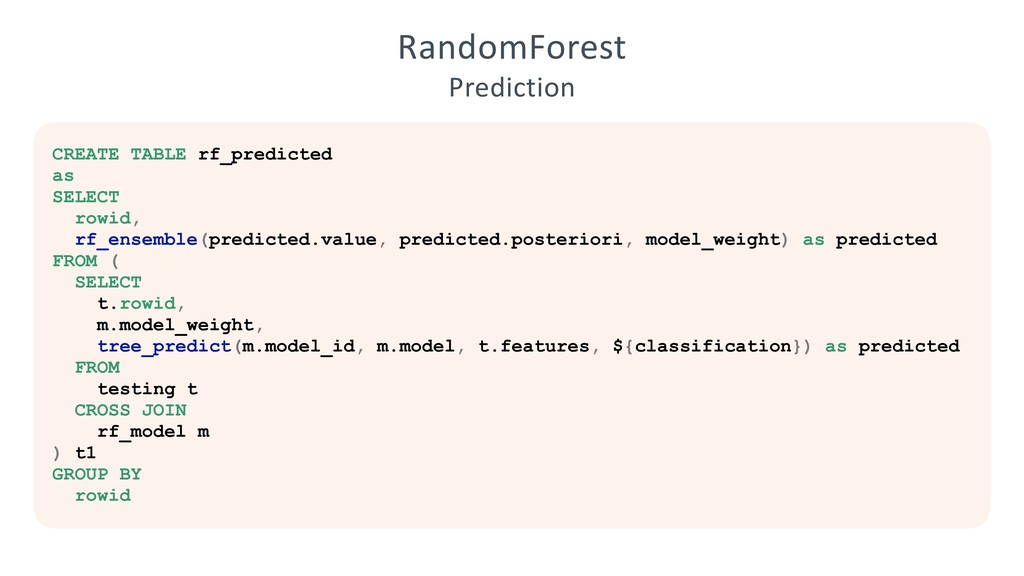 RandomForest Prediction CREATE TABLE rf_predict...