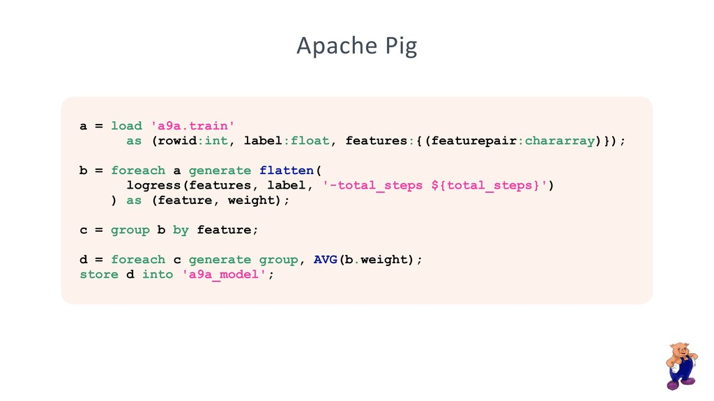 Apache Pig a = load 'a9a.train' as (rowid:int, ...
