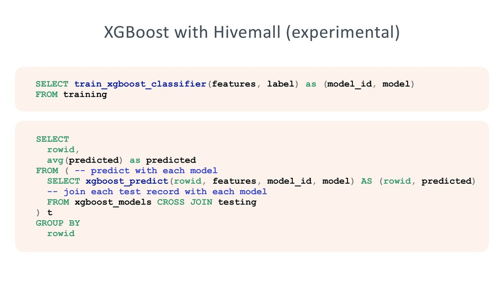 XGBoost with Hivemall (experimental) SELECT tra...