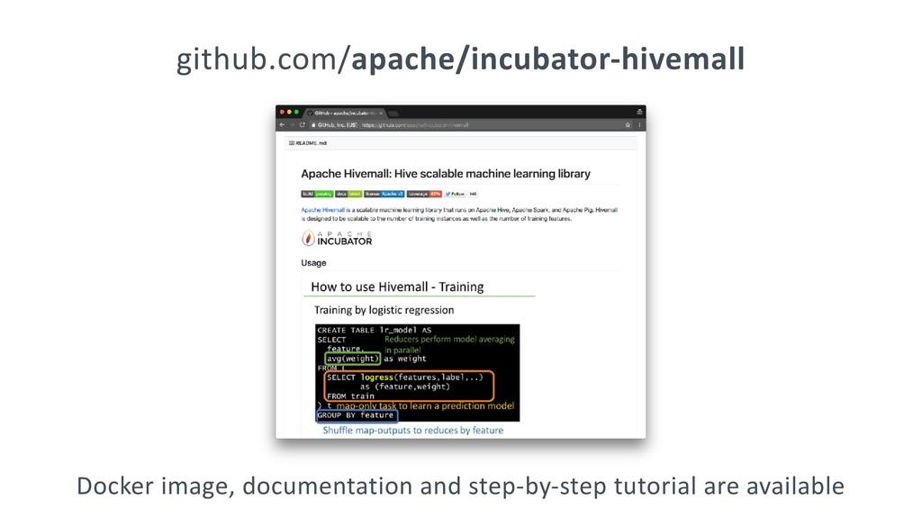 github.com/apache/incubator-hivemall Docker ima...