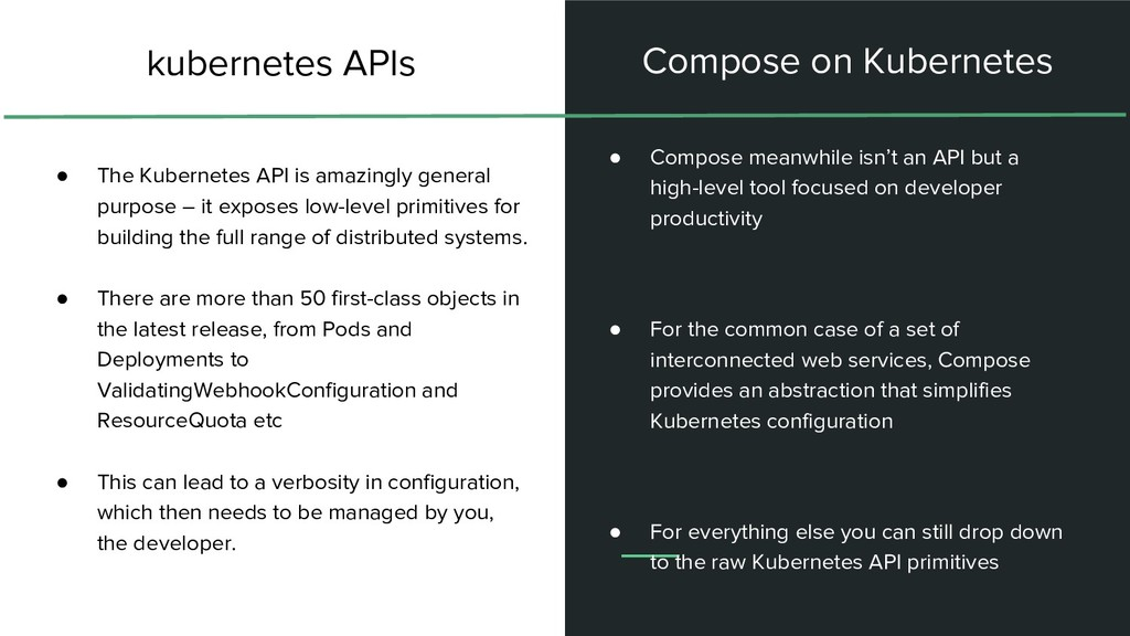 ● The Kubernetes API is amazingly general purpo...