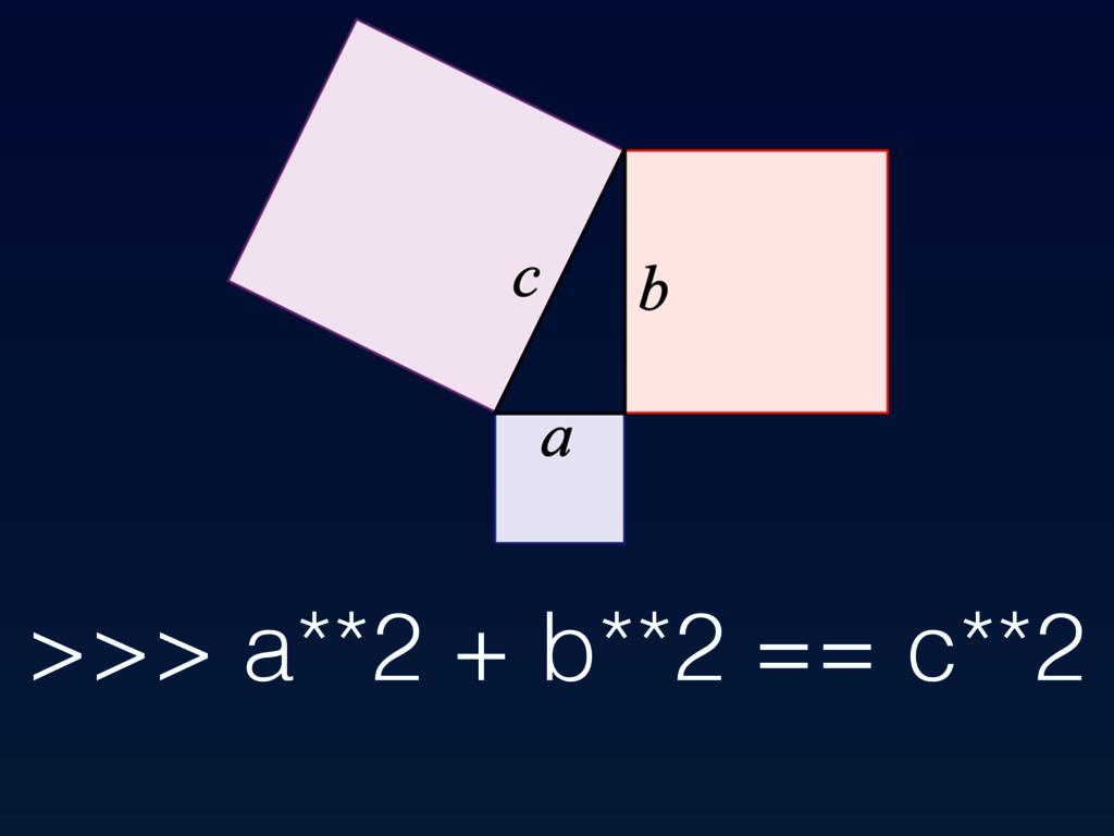 >>> a**2 + b**2 == c**2
