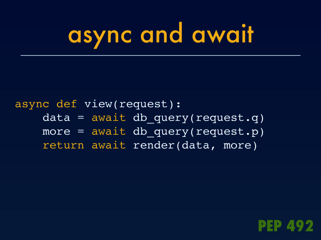 async and await async def view(request): data =...