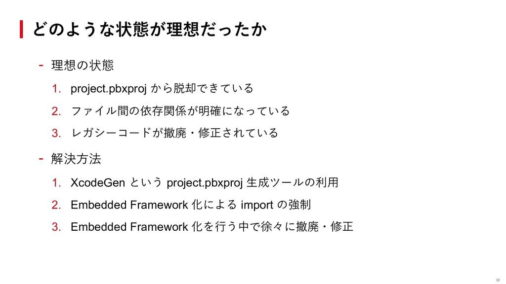 - 理想の状態 1. project.pbxproj から脱却できている 2. ファイル間の依...