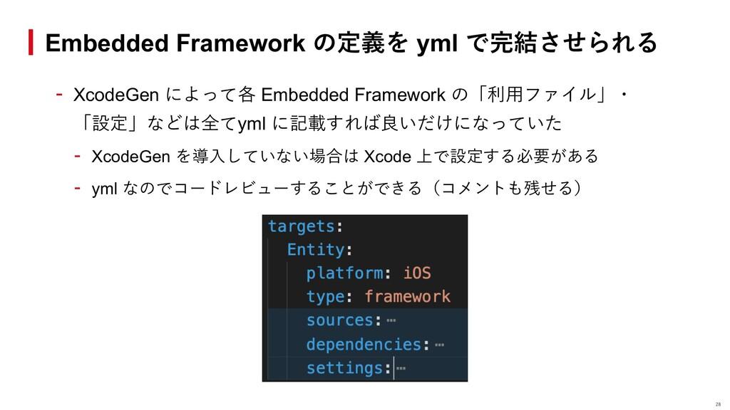 - XcodeGen によって各 Embedded Framework の「利⽤ファイル」・ ...