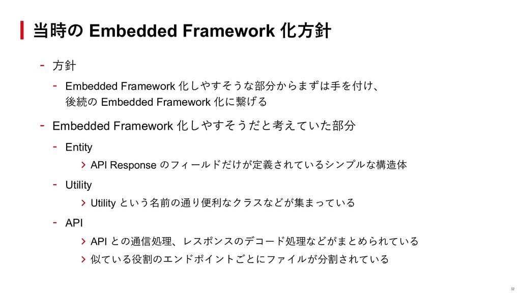 - ⽅針 - Embedded Framework 化しやすそうな部分からまずは⼿を付け、 後...
