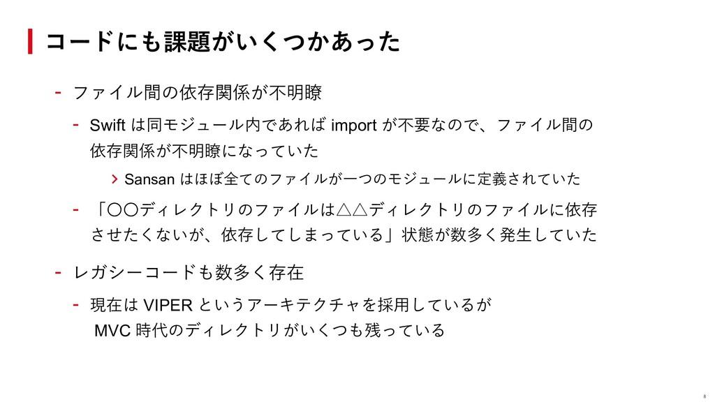 - ファイル間の依存関係が不明瞭 - Swift は同モジュール内であれば import が不...