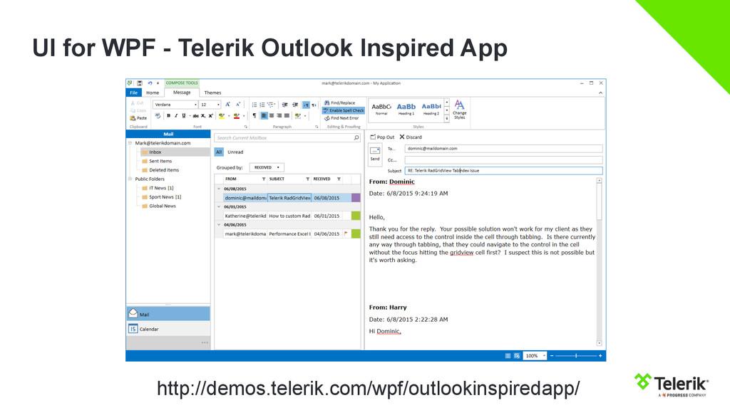 UI for WPF - Telerik Outlook Inspired App http:...