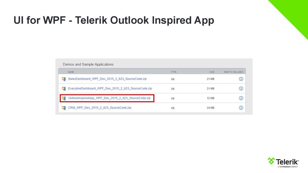 UI for WPF - Telerik Outlook Inspired App
