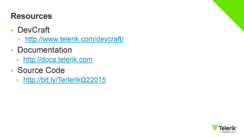 Resources • DevCraft • http://www.telerik.com...