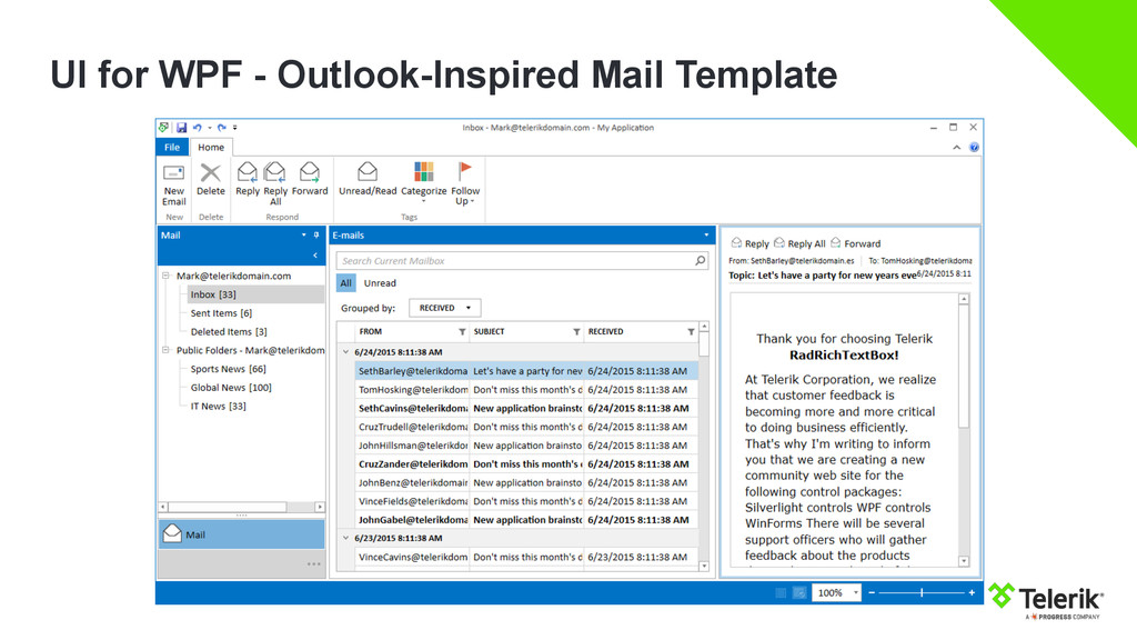 UI for WPF - Outlook-Inspired Mail Template