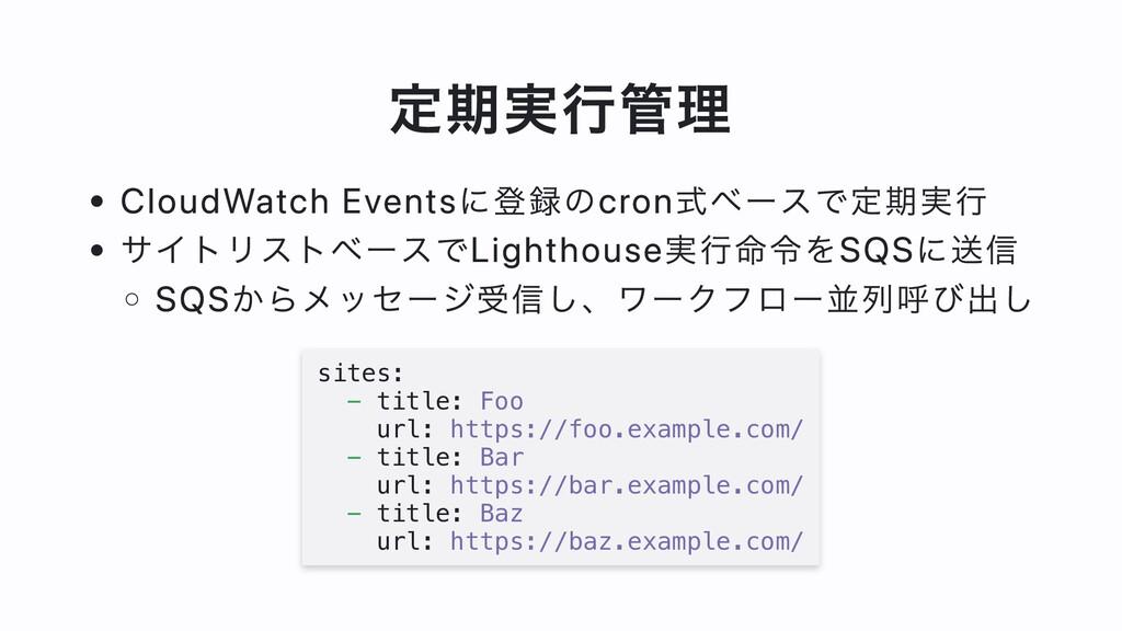 定期実⾏管理 CloudWatch Eventsに登録のcron式ベースで定期実⾏ サイトリス...