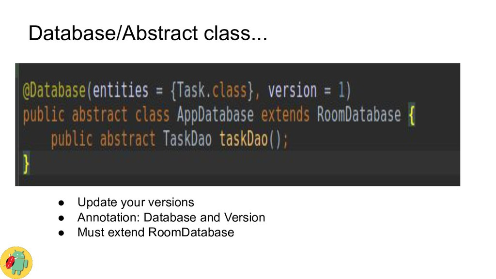Database/Abstract class... ● Update your versio...