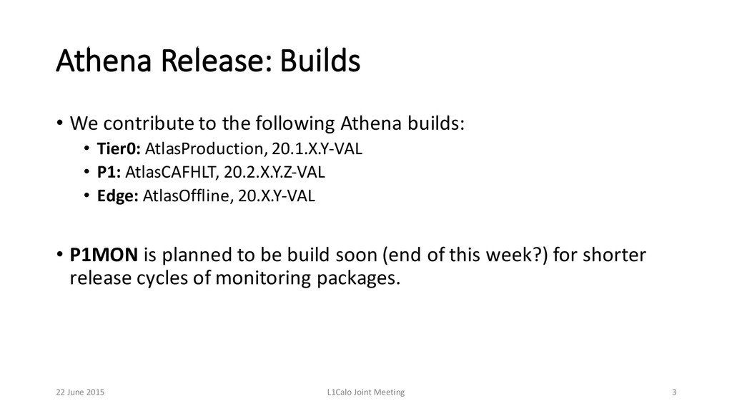 Athena Release: Builds • We contribute to ...