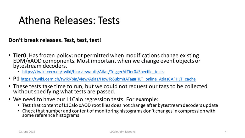 Athena Releases: Tests Don't break releases...