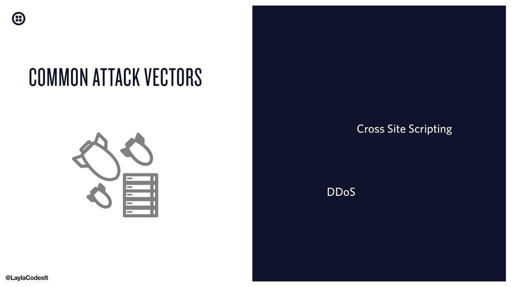 COMMON ATTACK VECTORS Cross Site Scripting DDoS