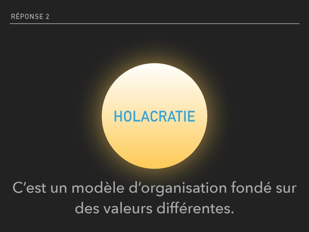 RÉPONSE 2 HOLACRATIE C'est un modèle d'organisa...