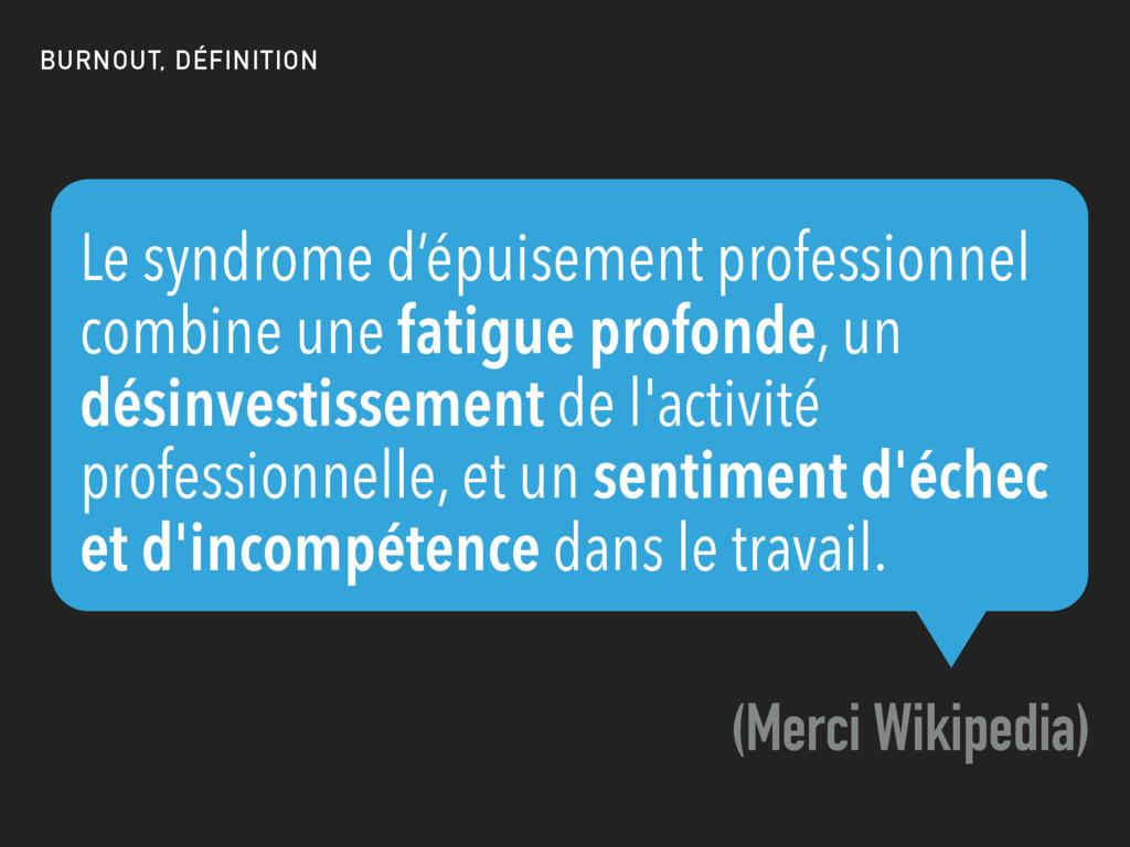 Le syndrome d'épuisement professionnel combine ...