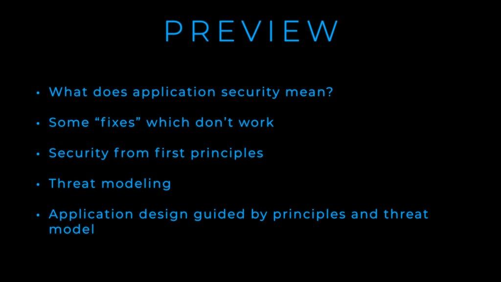 P R E V I E W • What does application security ...