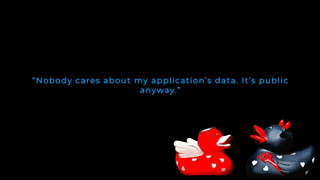 """""""Nobody cares about my application's data. It's..."""