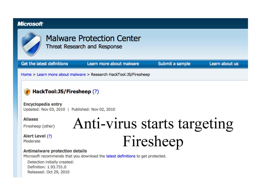 Anti-virus starts targeting Firesheep