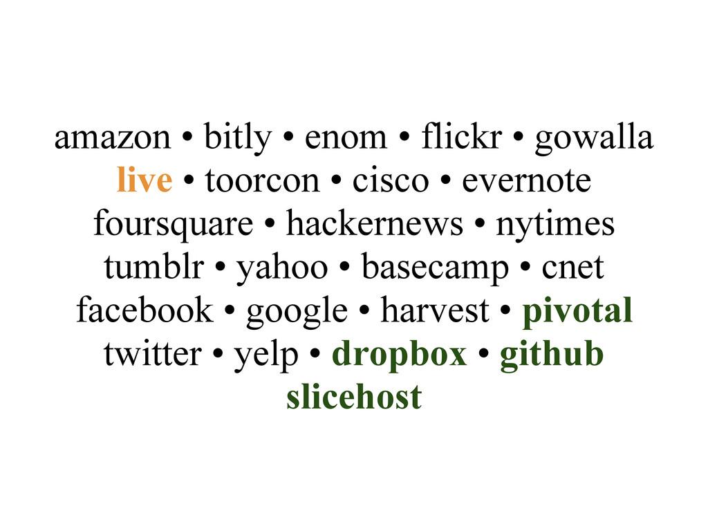 amazon • bitly • enom • flickr • gowalla live •...