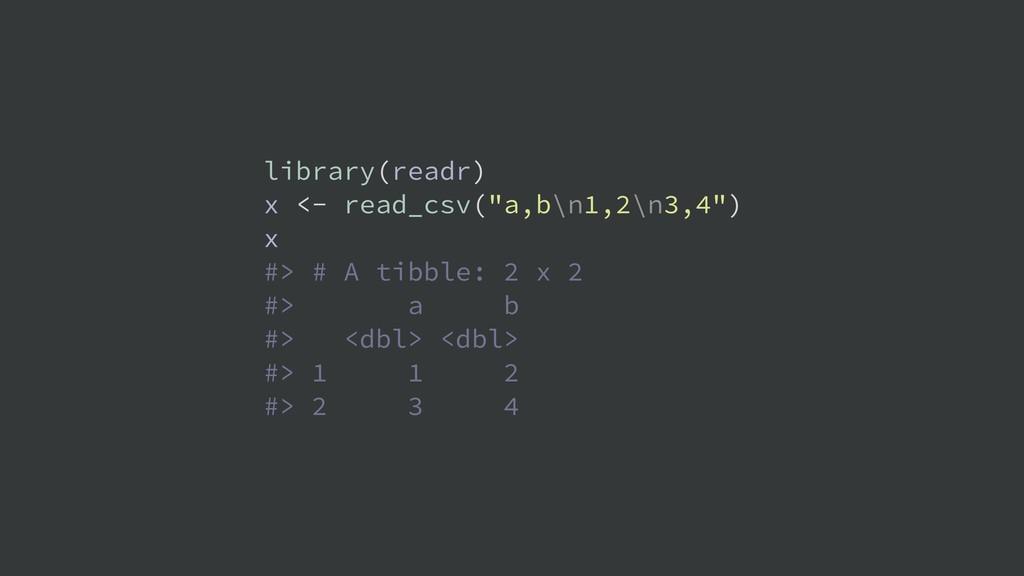 """library(readr) x <- read_csv(""""a,b\n1,2\n3,4"""") x..."""
