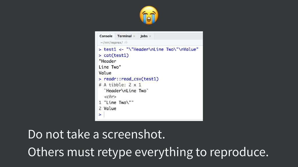 Do not take a screenshot. Others must retype e...