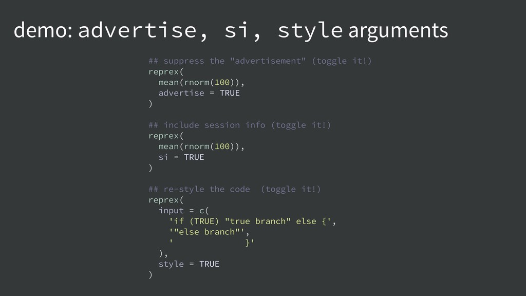 demo: advertise, si, style arguments ## suppres...