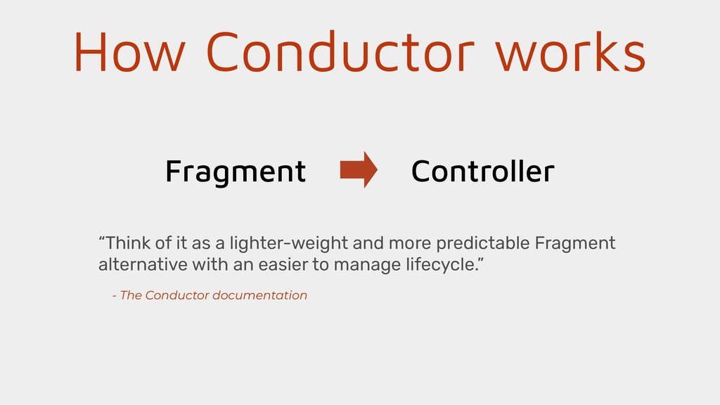 """How Conductor works Fragment Controller """"Think ..."""
