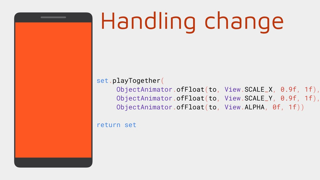 set.playTogether( ObjectAnimator.ofFloat(to, Vi...