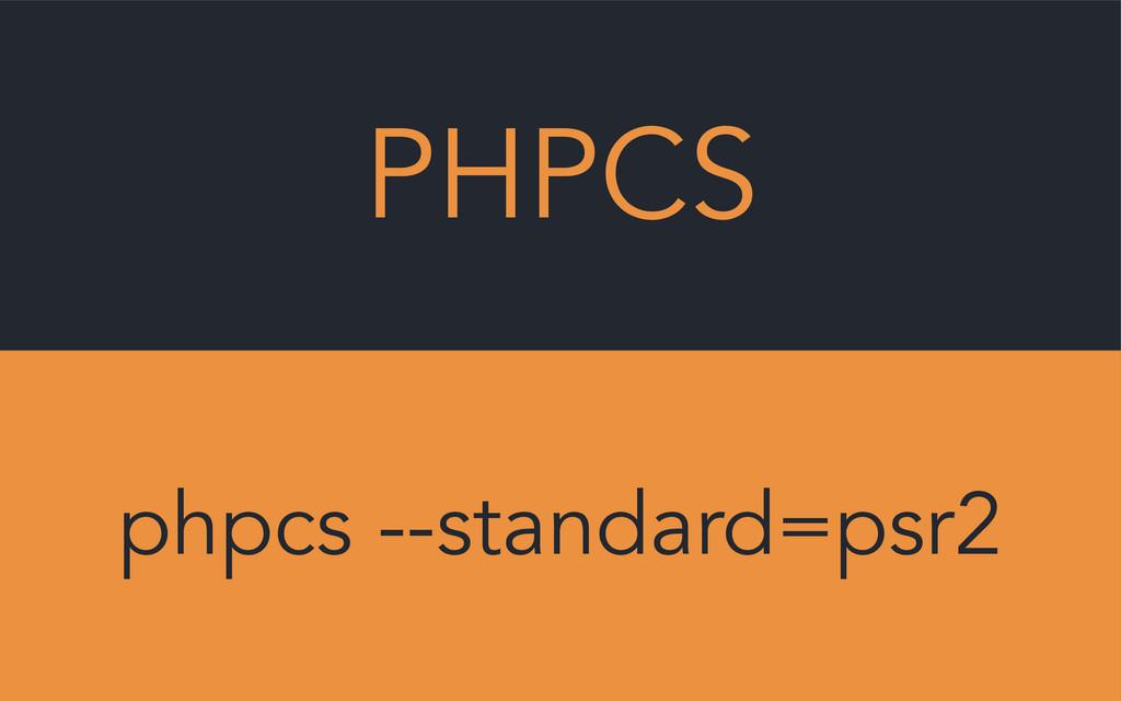 PHPCS phpcs --standard=psr2