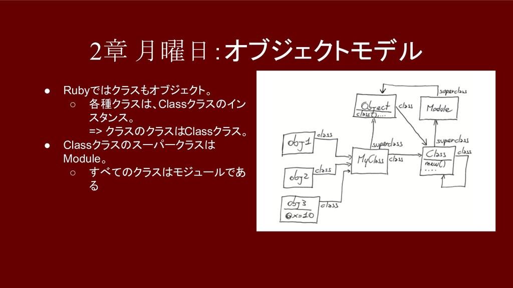 2章 月曜日:オブジェクトモデル ● Rubyではクラスもオブジェクト。 ○ 各種クラスは、C...