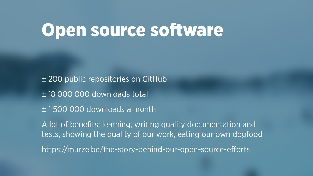 Open source software ± 200 public repositories ...