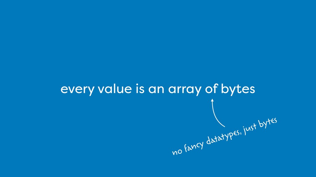 every value is an array of bytes no fancy datat...