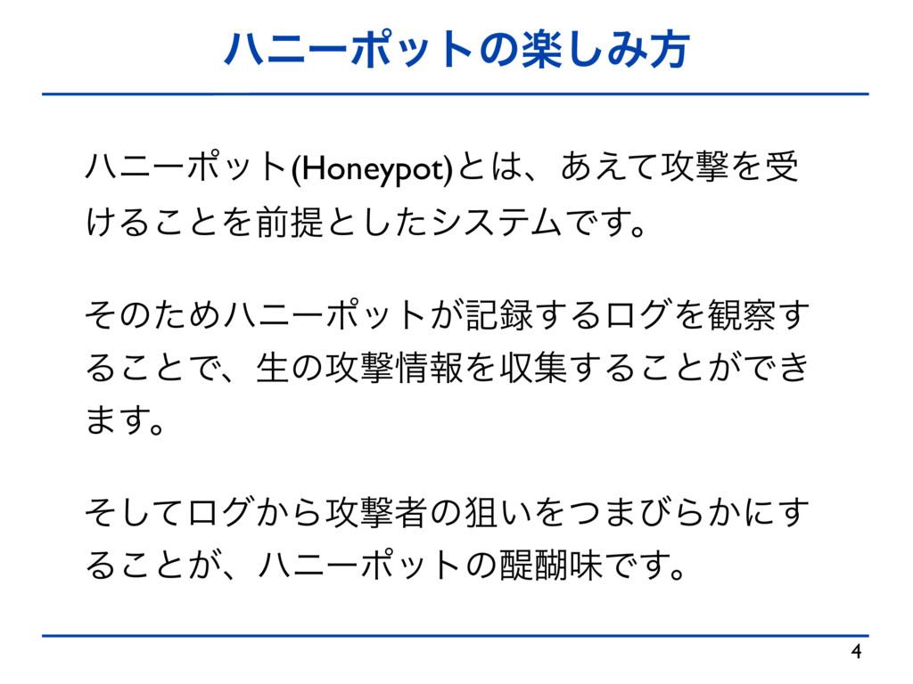 ϋχʔϙοτͷָ͠Έํ 4 ϋχʔϙοτ(Honeypot)ͱɺ͋͑ͯ߈ܸΛड ͚Δ͜ͱΛલ...