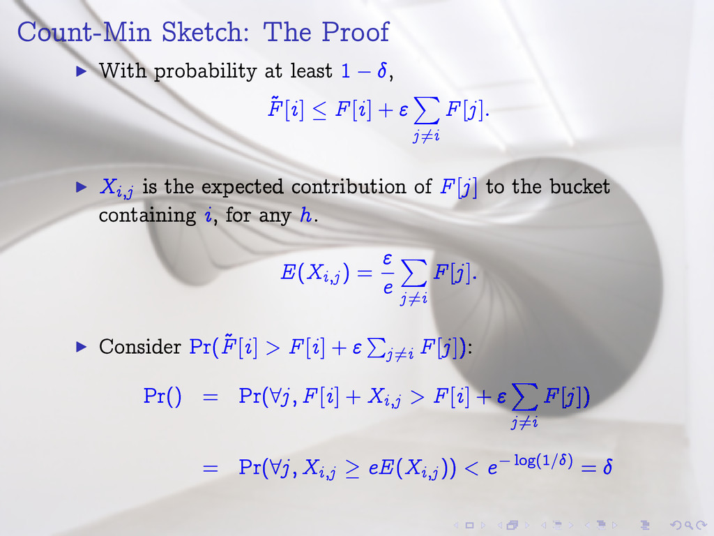 Count-Min Sketch: The Proof I With probability ...