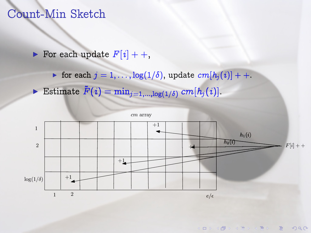 Count-Min Sketch I For each update F[i] + +, I ...