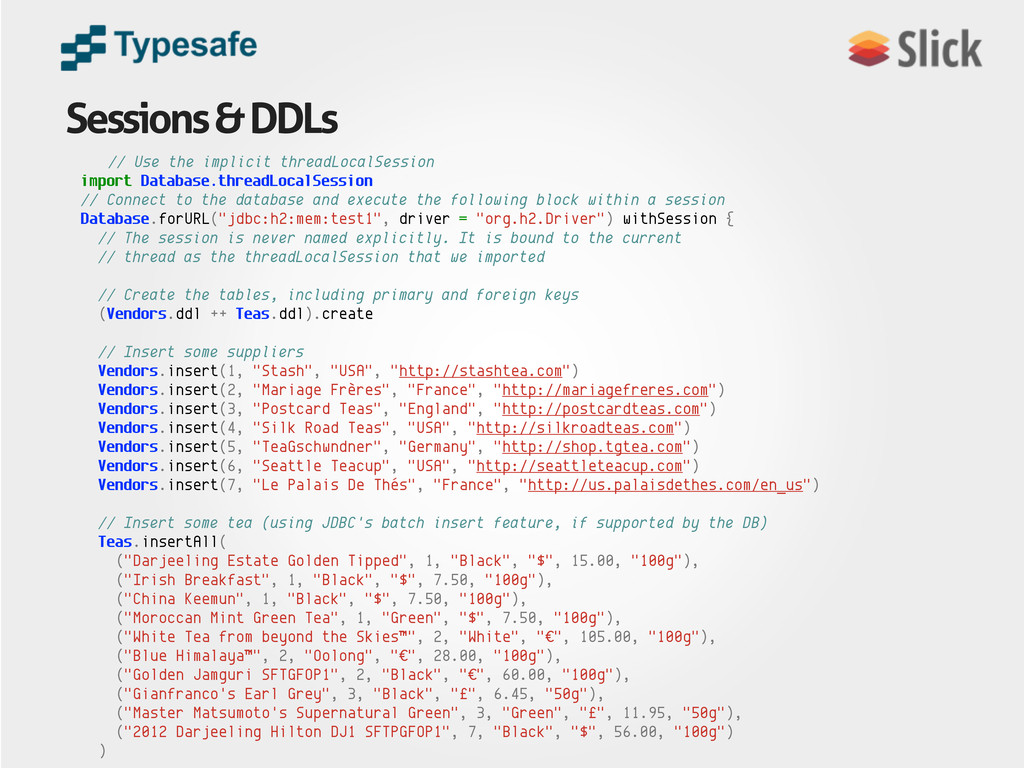 Sessions & DDLs // Use the implicit threadLocal...