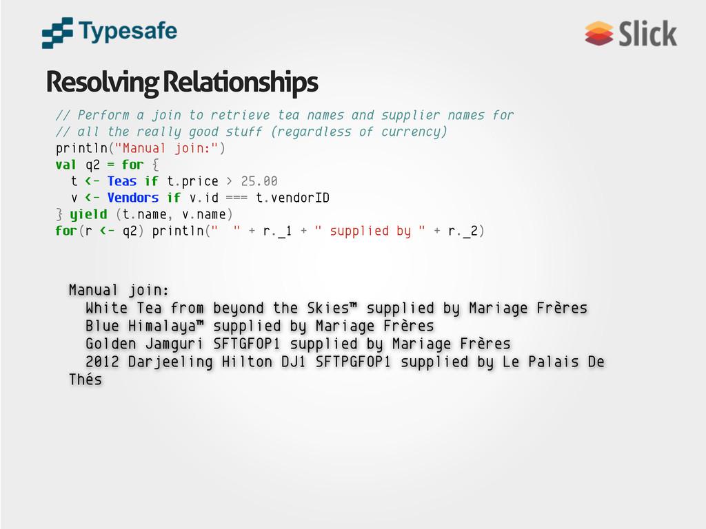 Resolving Relationships Manual join: White Tea ...
