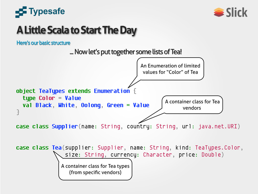 A Little Scala to Start The Day Here's our basi...
